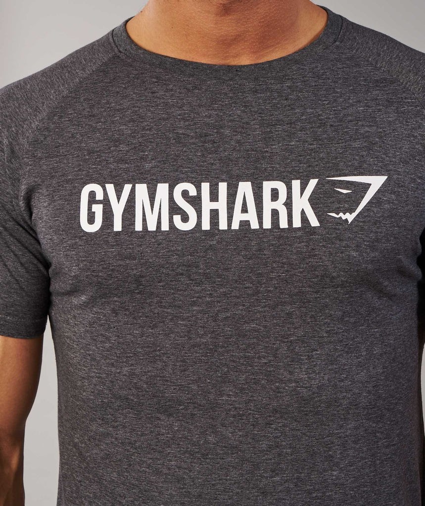 Gymshark Apollo T-Shirt - Charcoal Marl/White 6