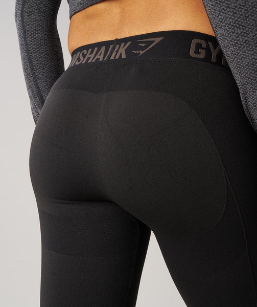 Gymshark Flex Leggings - Black Marl/Black 4