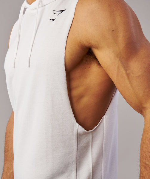 Gymshark Drop Arm Sleeveless Hoodie - White 4