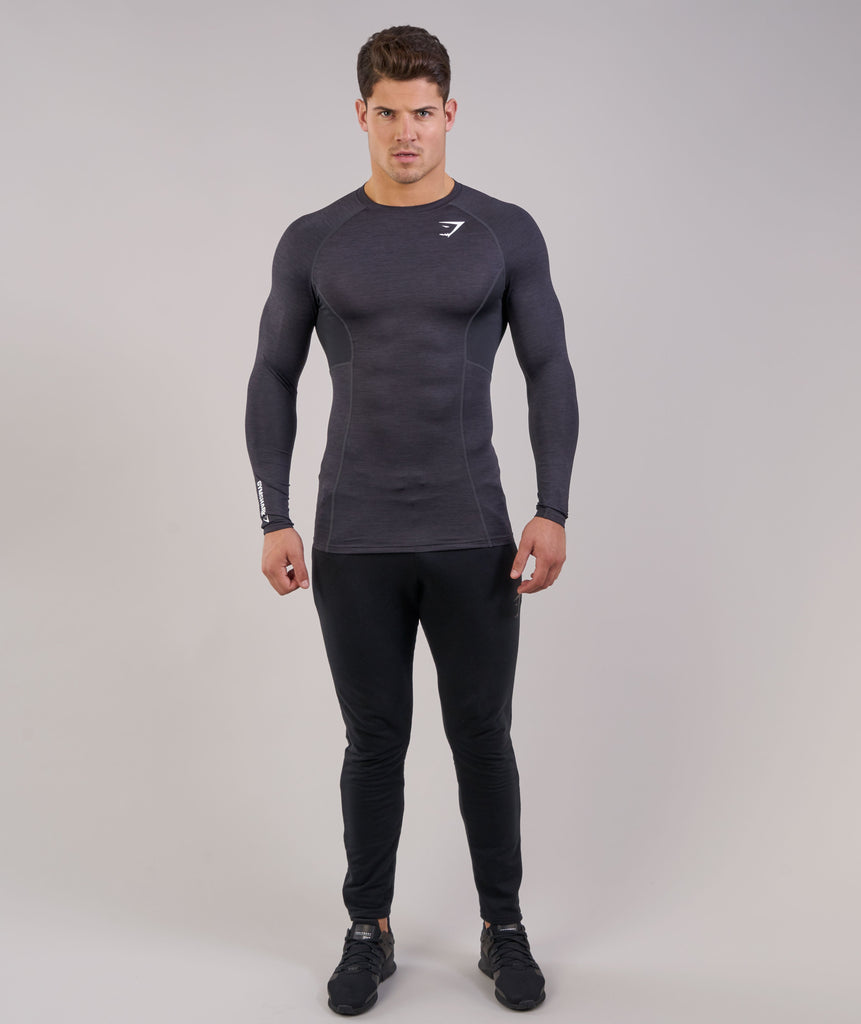 Gymshark Element Baselayer Long Sleeve Top - Black Marl 1