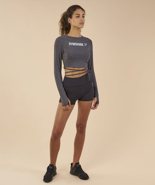Gymshark Long Sleeve Ribbon Crop Top - Charcoal Marl 3