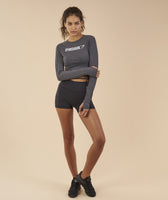 Gymshark Long Sleeve Ribbon Crop Top - Charcoal Marl 7