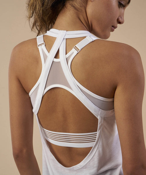 Gymshark Open Back Vest - White 4