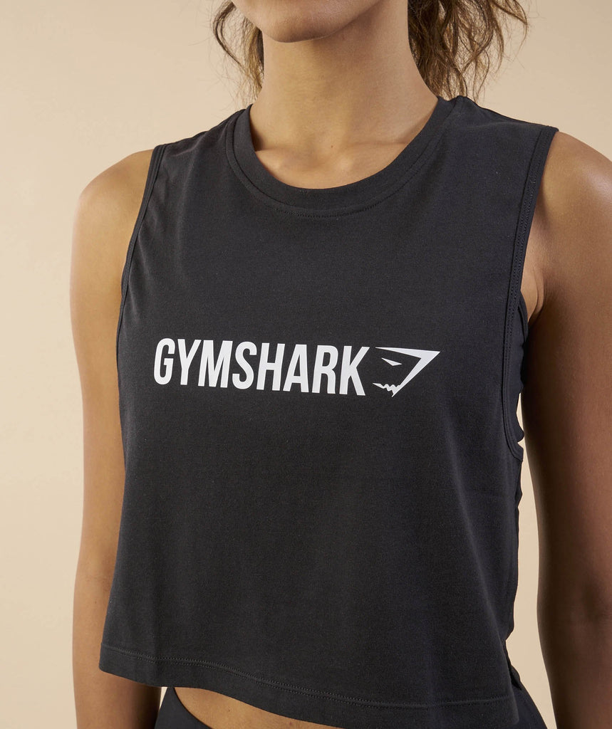 Gymshark Crop Mesh Back Tank - Black 6