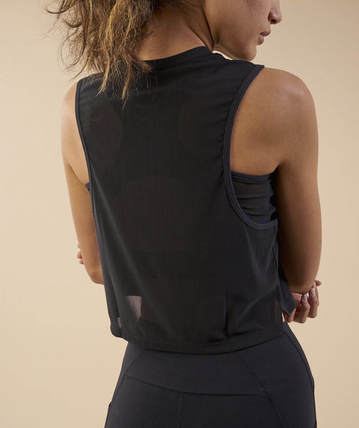 Gymshark Crop Mesh Back Tank - Black 4