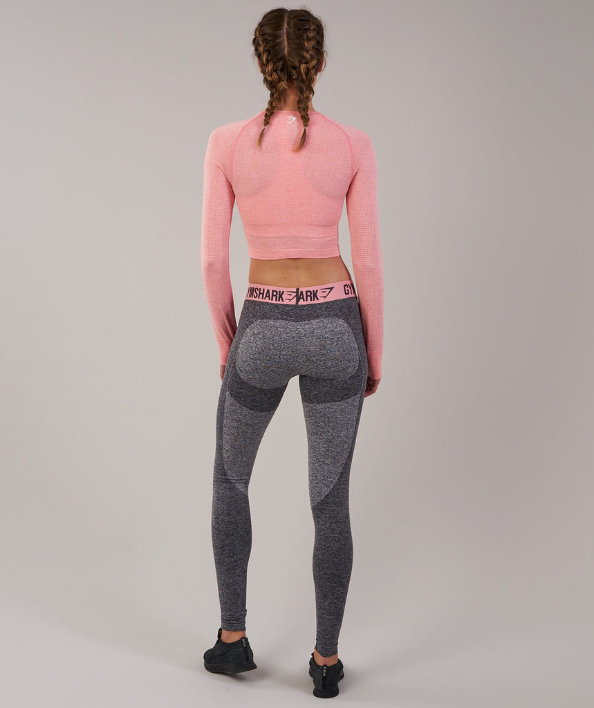 Gymshark Vital Seamless Long Sleeve Crop Top - Peach Pink Marl 2