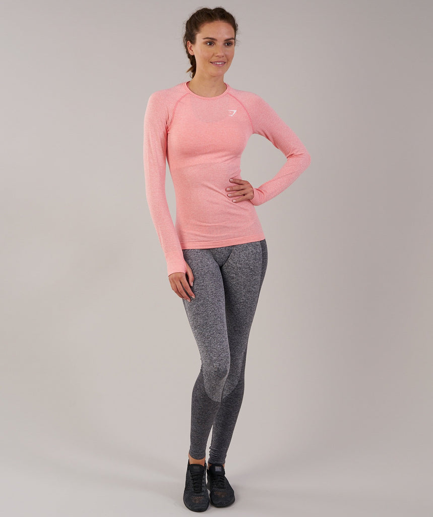 Gymshark Vital Seamless Long Sleeve Top - Peach Pink Marl 1