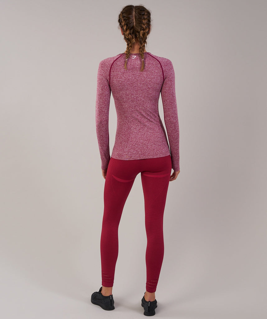 Gymshark Vital Seamless Long Sleeve Top - Beet Marl 2