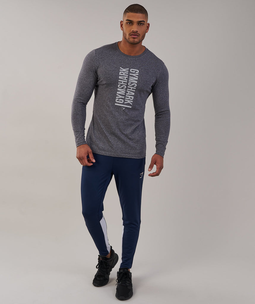 Gymshark Statement Long Sleeve T-Shirt - Charcoal Marl 1
