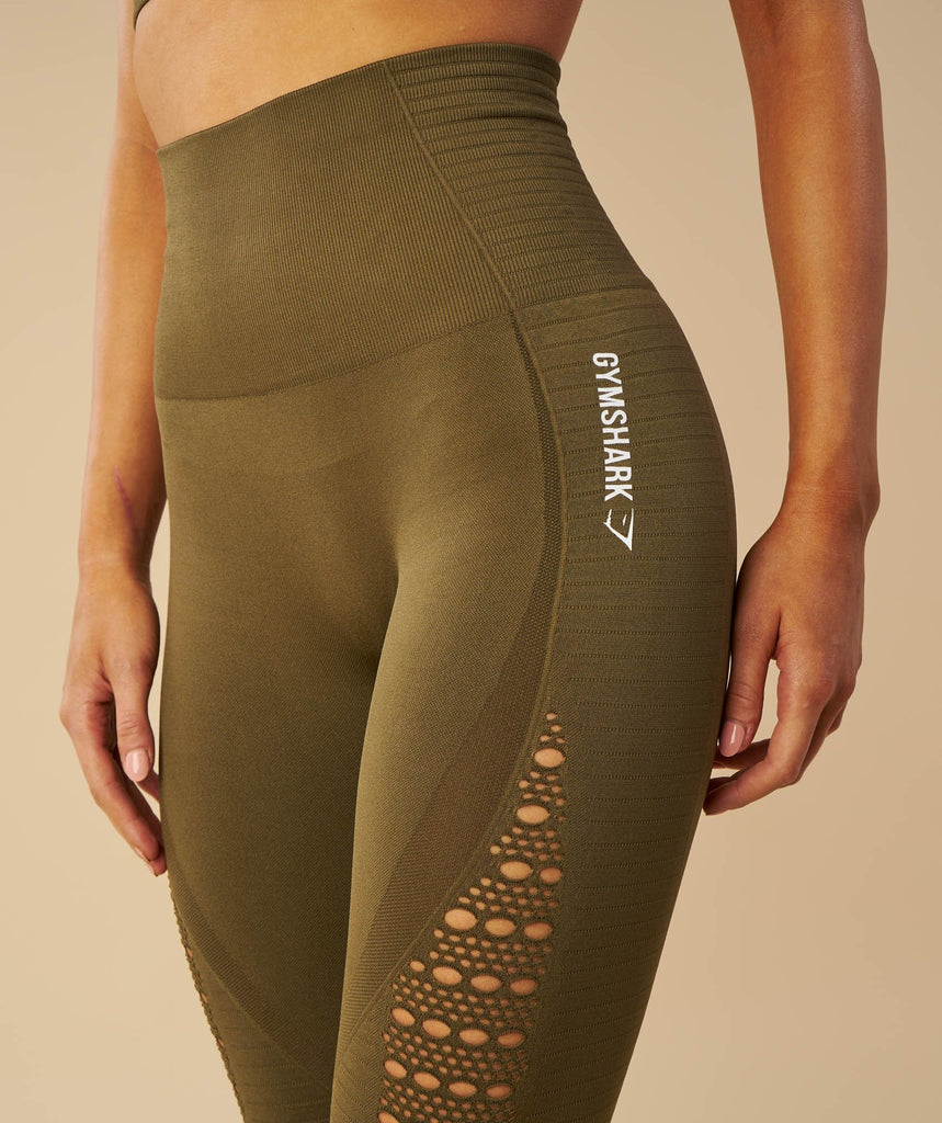 Gymshark Seamless Energy High Waisted Leggings - Khaki 2