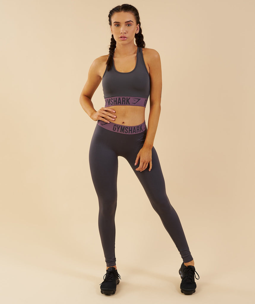 Gymshark Fit Sports Bra - Charcoal/Purple Wash 6