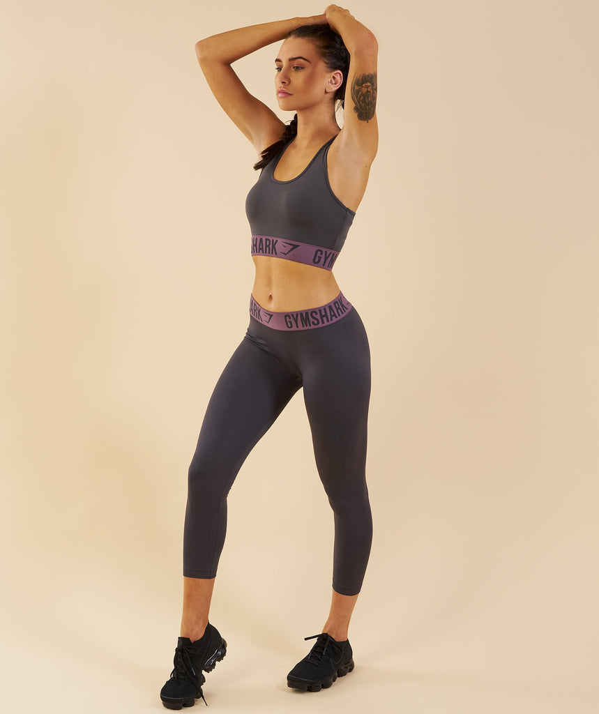 Gymshark Fit Cropped Leggings - Charcoal/Purple Wash 6