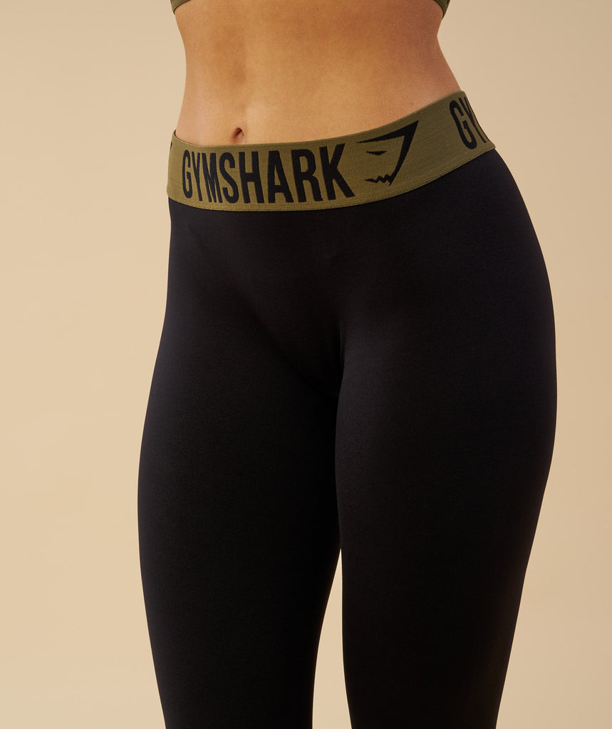 Gymshark Fit Cropped Leggings - Black/Khaki 2