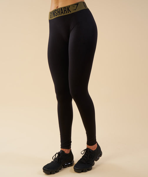Gymshark Fit Leggings - Black/Khaki 1