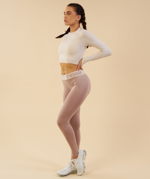 Gymshark Vital Seamless Long Sleeve Crop Top - Sand 3