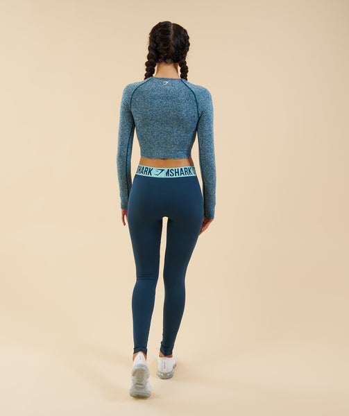 Gymshark Vital Seamless Long Sleeve Crop Top - Deep Teal 3