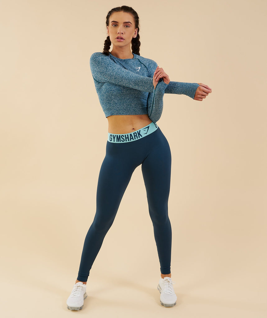 Gymshark Vital Seamless Long Sleeve Crop Top - Deep Teal 4