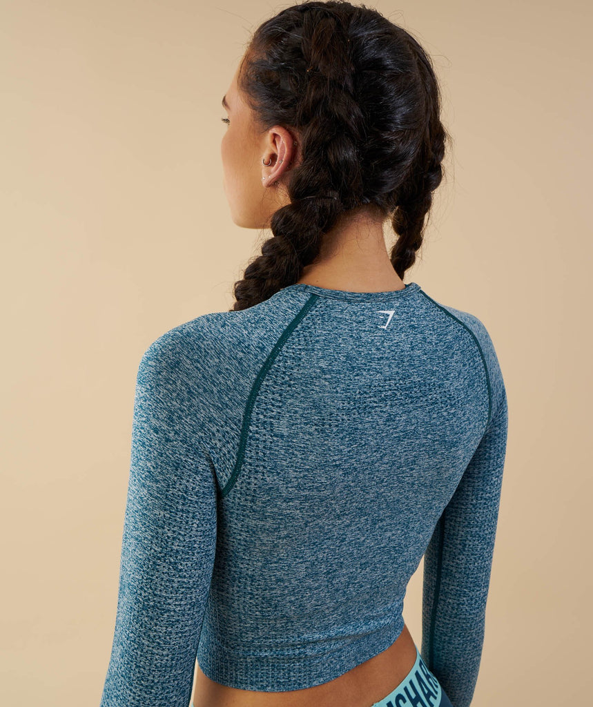 Gymshark Vital Seamless Long Sleeve Crop Top - Deep Teal 6