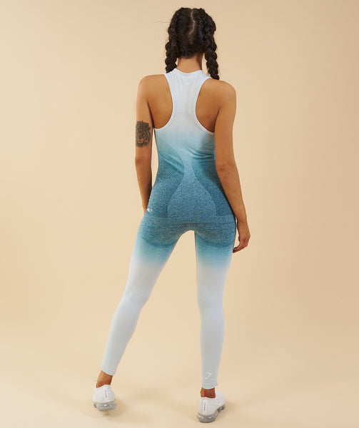 Gymshark Ombre Seamless Vest  - Deep Teal/Ice Blue 2