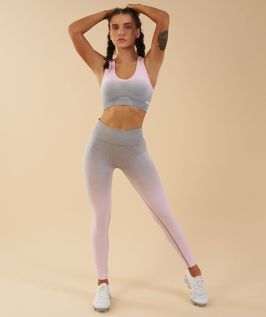 Gymshark Ombre Seamless Sports Bra - Light Grey/Chalk Pink 1