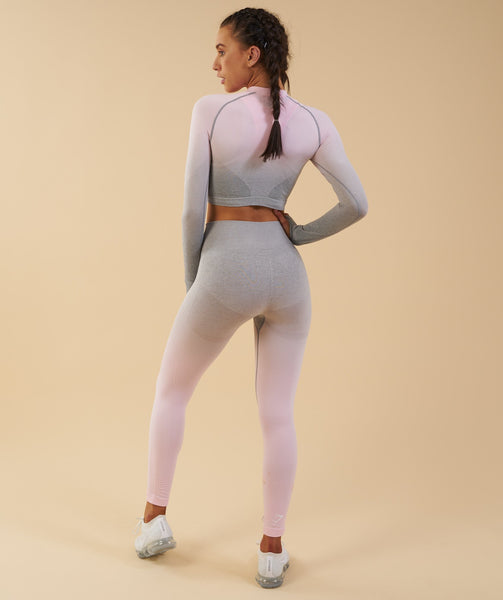 Gymshark Ombre Seamless Crop Top  - Light Grey/Chalk Pink 2