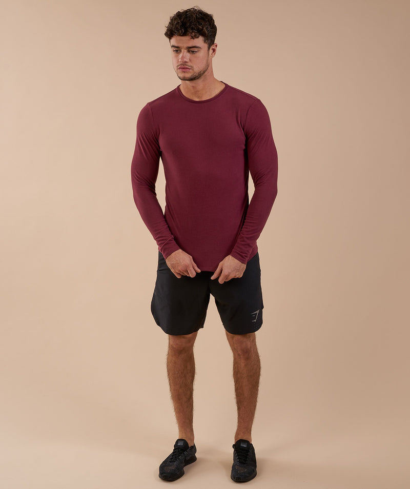 Gymshark Brushed Cotton Long Sleeve T-Shirt - Port