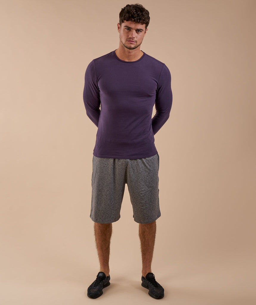Brushed Cotton Long Sleeve T-Shirt - Nightshade Purple