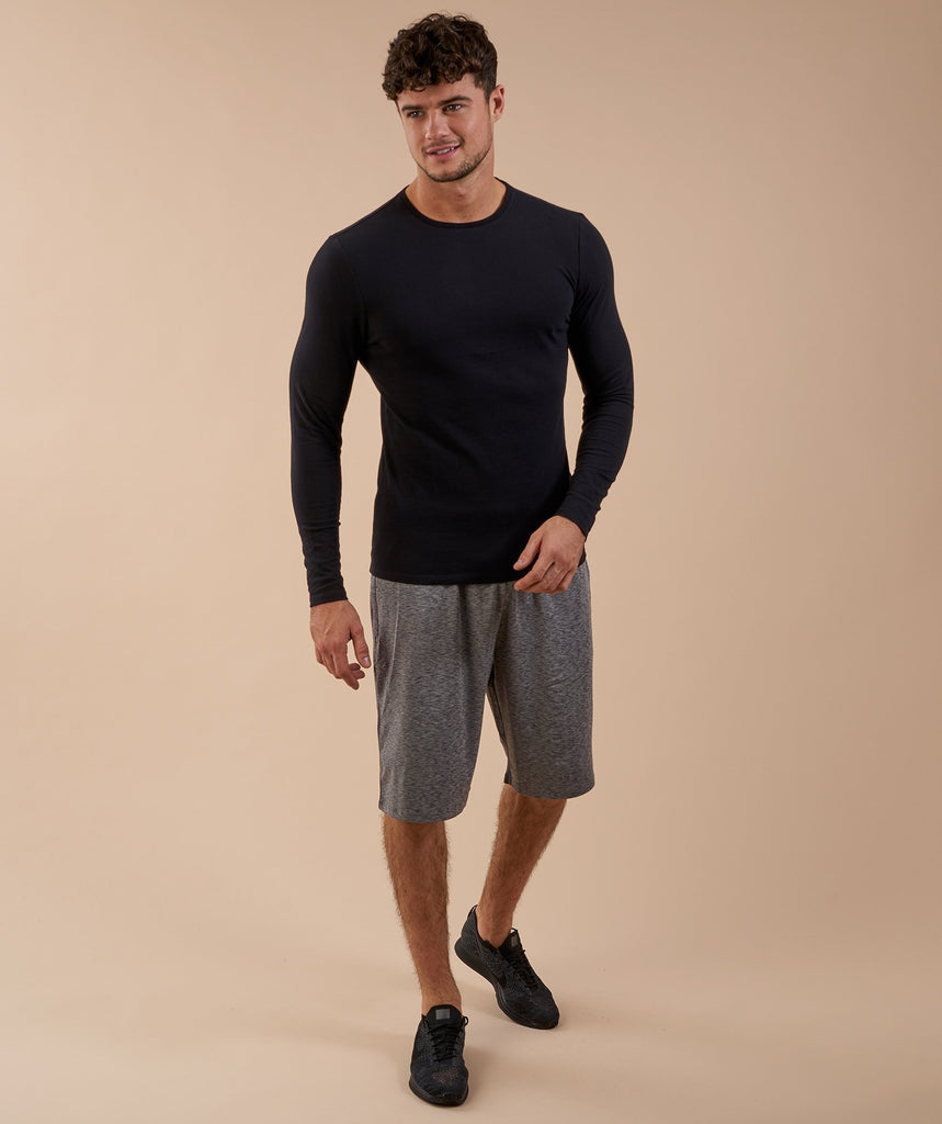 Brushed Cotton Long Sleeve T-Shirt - Black