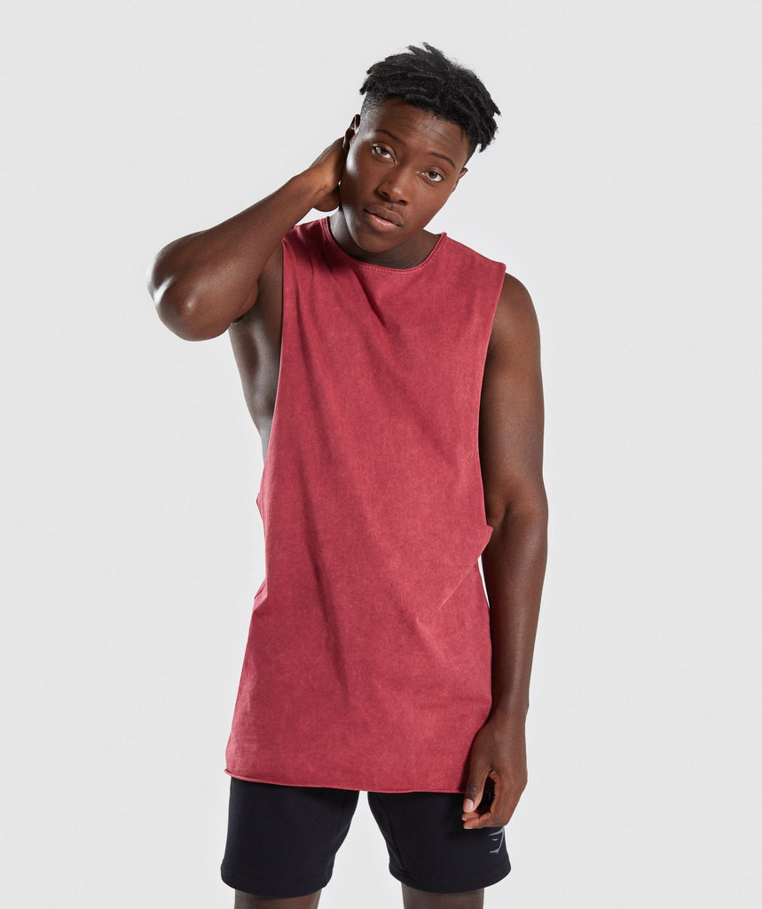 Gymshark Acid Wash Drop Arm Sleeveless T-Shirt - Port 1