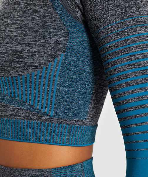 Gymshark Amplify Seamless Long Sleeve Crop Top  - Black Marl/Deep Teal 4