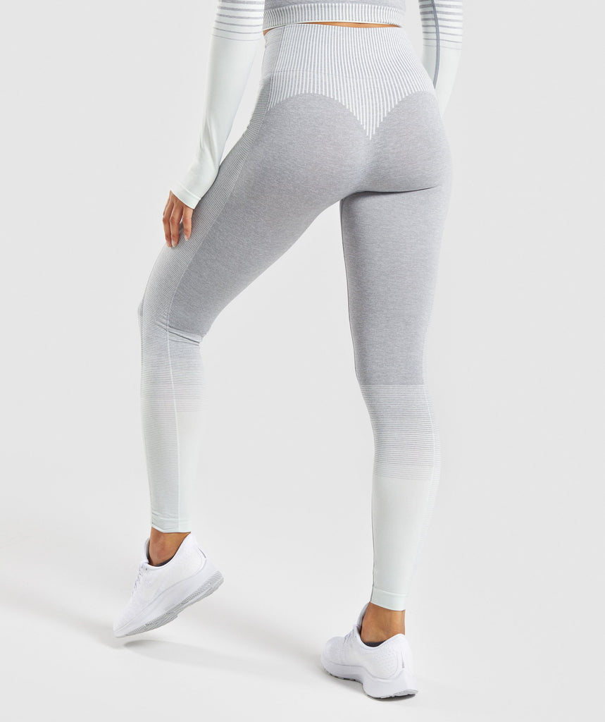 Gymshark Amplify Seamless Leggings - Light Grey Marl/Sea Foam Green 1