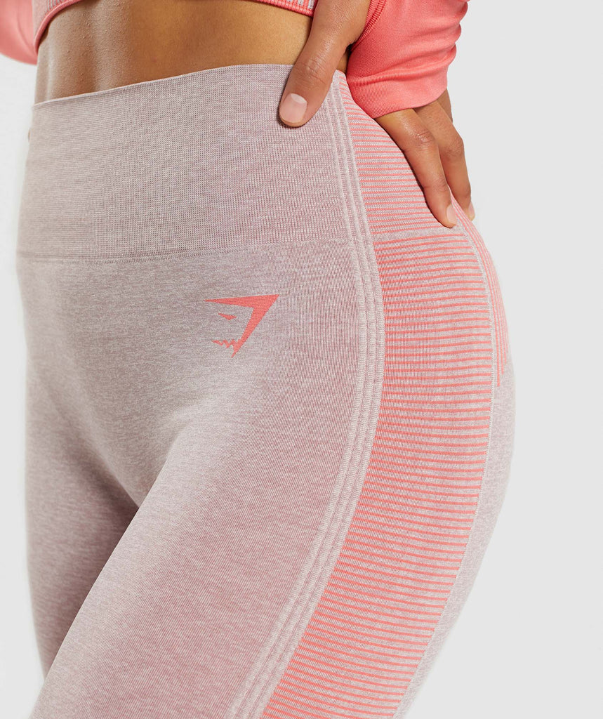 Gymshark Amplify Seamless Leggings - Taupe Marl/Peach Coral 5