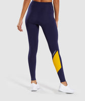 Gymshark Asymmetric Leggings - Evening Navy Blue/Citrus Yellow 8