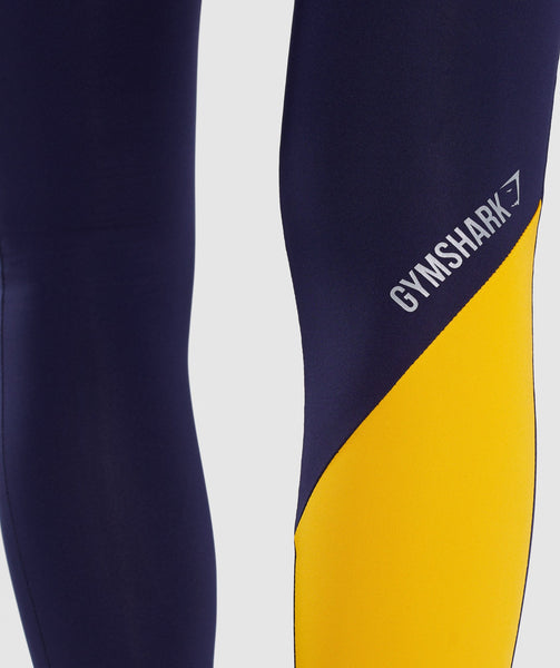 Gymshark Asymmetric Leggings - Evening Navy Blue/Citrus Yellow 4