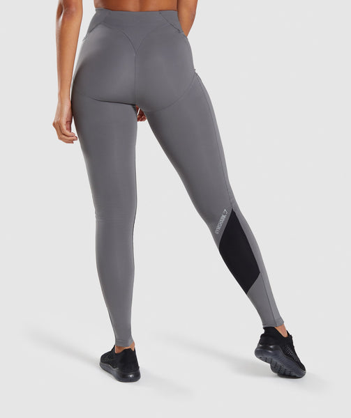 Gymshark Asymmetric Leggings - Smokey Grey/Black 1