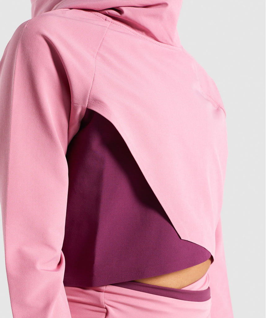 Gymshark Asymmetric Performance Hoodie - Dusky Pink/Dark Ruby 6