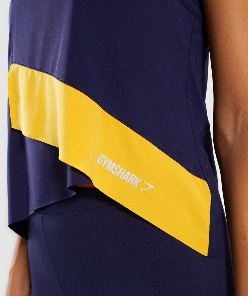 Gymshark Asymmetric Vest - Evening Navy Blue/Citrus Yellow 6