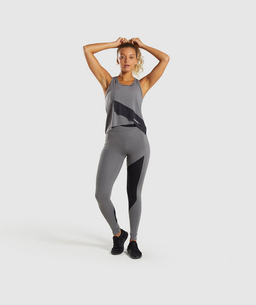 Gymshark Asymmetric Vest - Smokey Grey/Black 3
