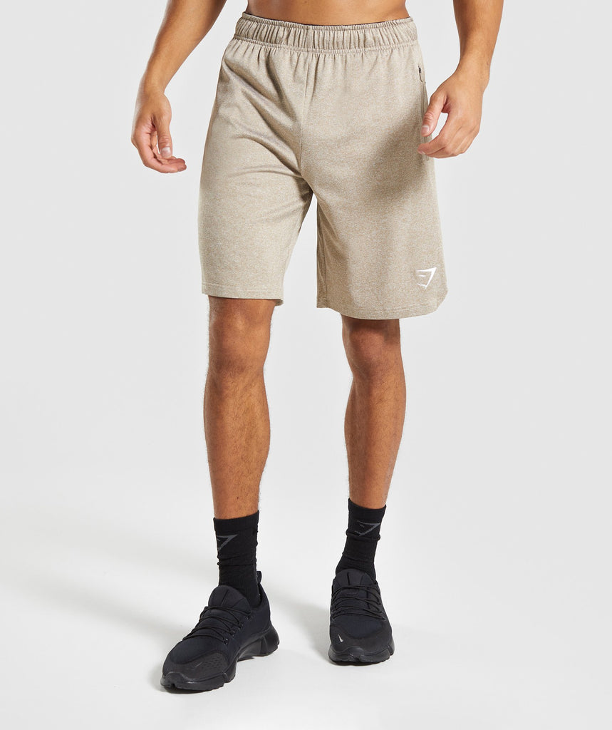 Gymshark Basic Training Shorts - Driftwood Brown Marl 1