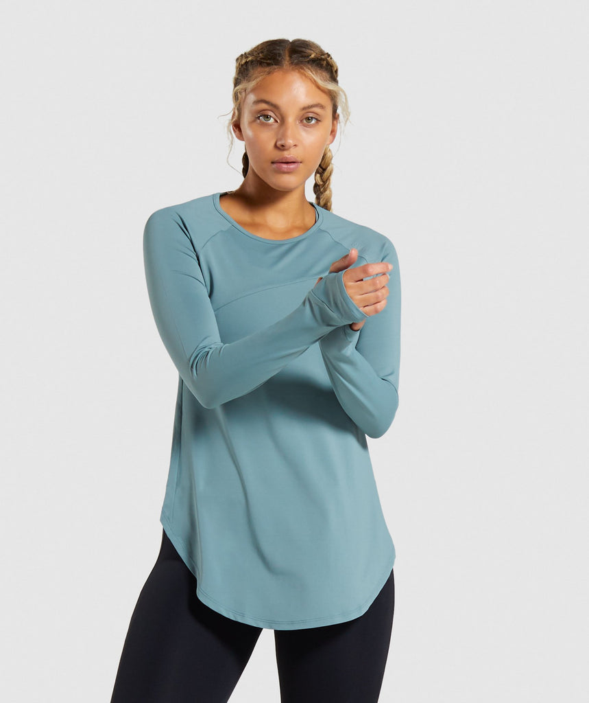 Gymshark Captivate Long Sleeve Top - Turquoise 1