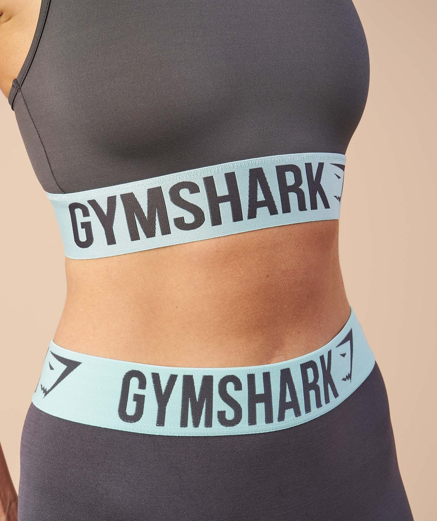 Gymshark Fit Leggings - Charcoal/Pale Turquoise 6