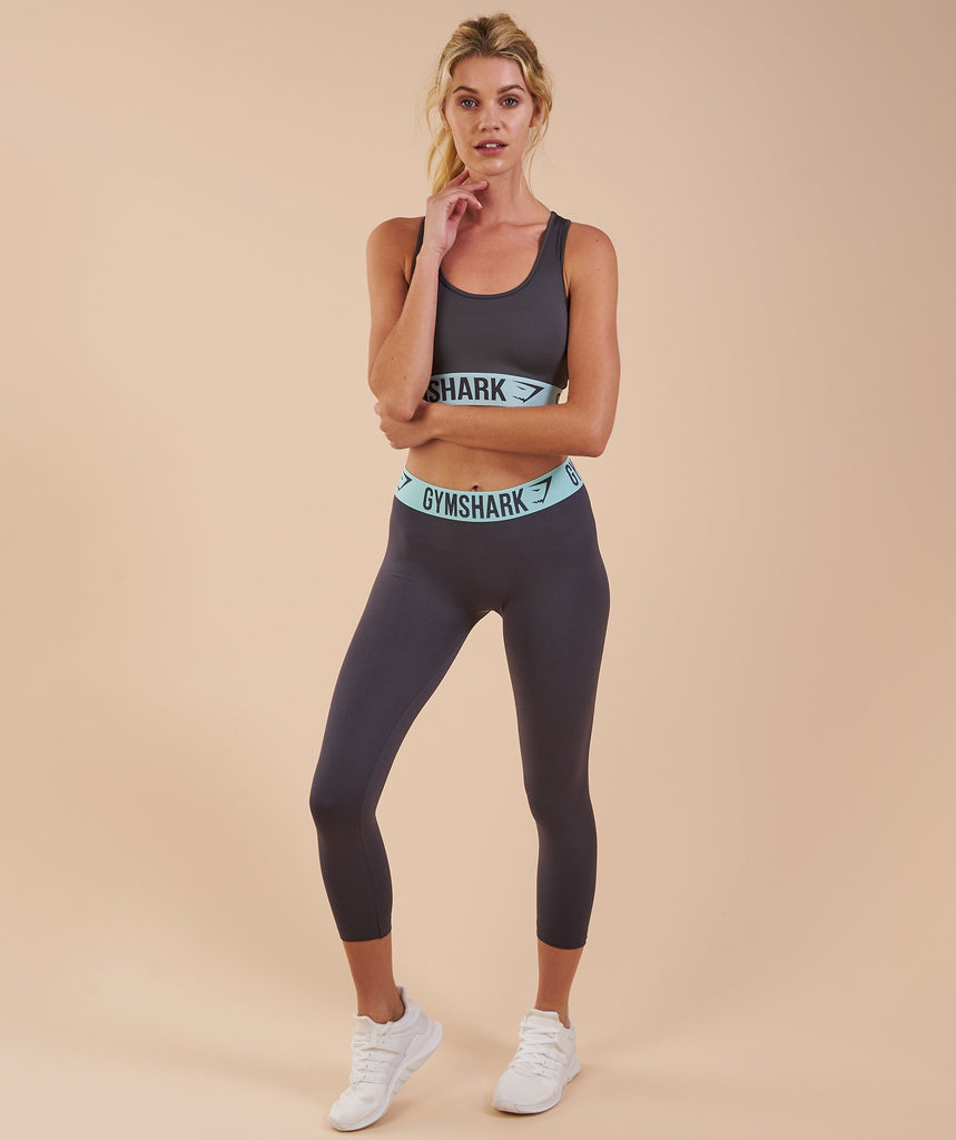 Gymshark Fit Cropped Leggings - Charcoal/Pale Turquoise