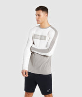 Gymshark Colour Block Central Logo Long Sleeve T-Shirt - Chalk White 9
