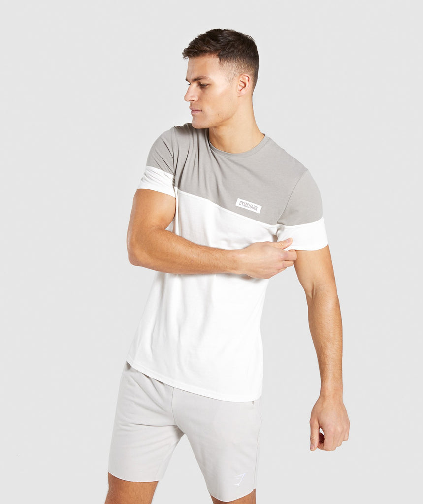Gymshark Colour Block T-Shirt - Chalk White 1