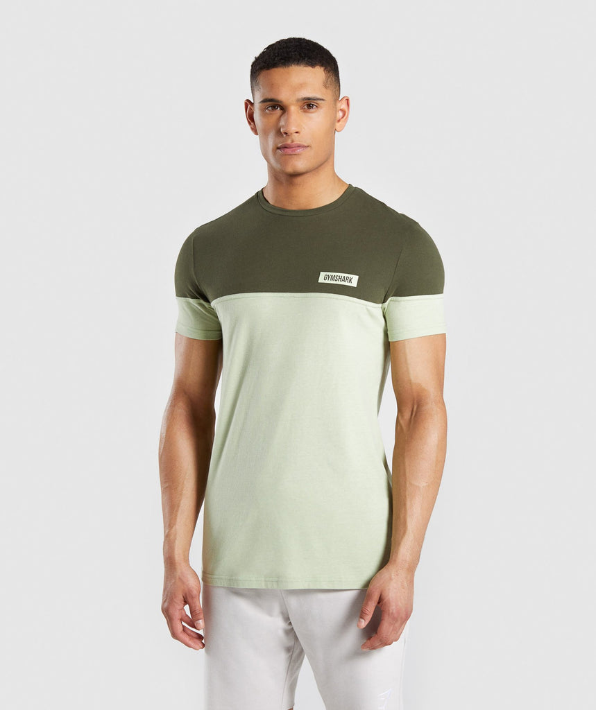 Gymshark Colour Block T-Shirt - Dark Green 4