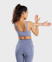 Gymshark Colour Block Sports Bra - Steel Blue Tones 8