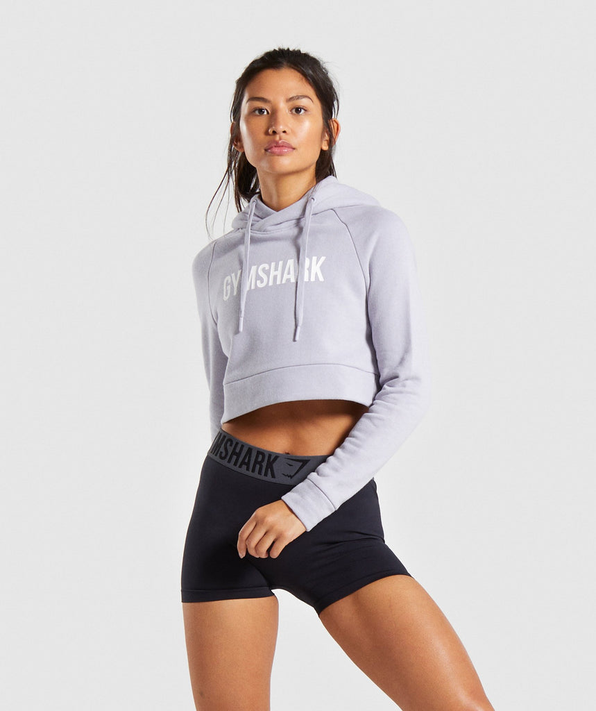 Gymshark Cropped Crest Hoodie - Lilac 1