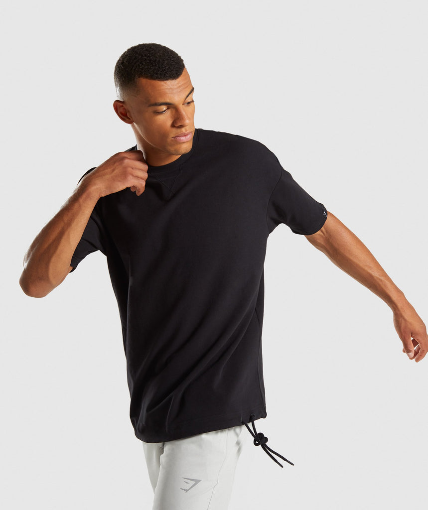 Gymshark Drawcord Sweat T-Shirt - Black 1