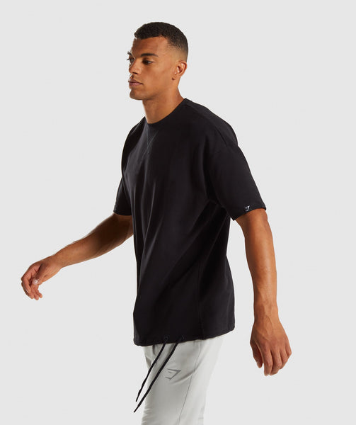 Gymshark Drawcord Sweat T-Shirt - Black 2