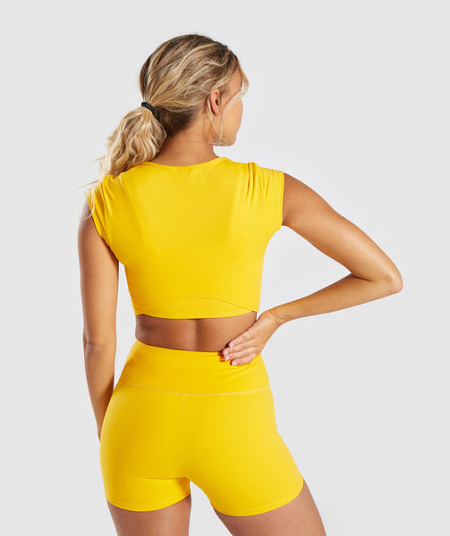 Gymshark Dreamy Cap Sleeve Crop Top - Citrus Yellow 1